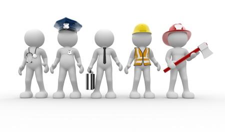 diferentes profesiones: Gente 3d - car�cter humano, persona con diferentes profesiones. Doctor, polic�a, empresario, ingeniero, bombero. 3d render Foto de archivo
