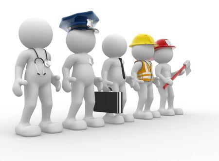 3d Leute - menschliches Zeichen, Person mit verschiedenen Berufen. Doctor, Polizist, Geschäftsmann, Ingenieur, Feuerwehrmann. 3d render Standard-Bild