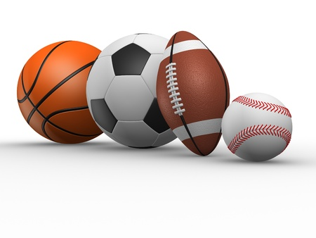 sports league:  The football, rugby, baseball and basketball. 3d render various sports balls.  Stock Photo