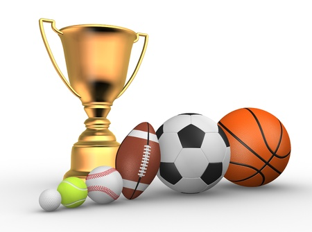 Golden trophy with a different balls ( football, baseball, basketball, rugby, tennis, golf ). 3d render Stock Photo - 14802375