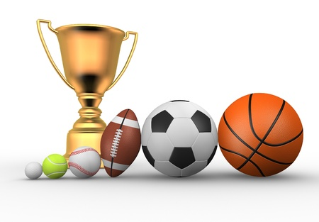 Golden trophy with a different balls ( football, baseball, basketball, rugby, tennis, golf ). 3d render photo