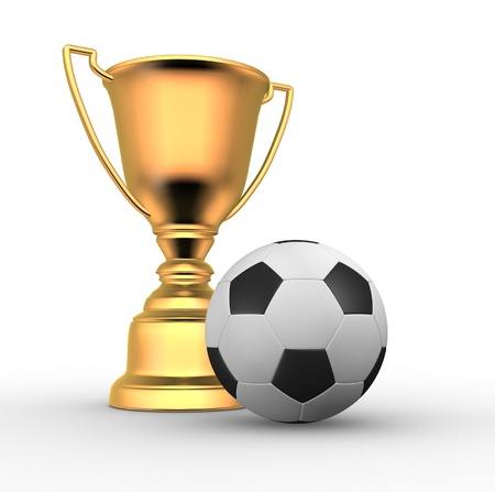 3d render illustration of a golden trophy with a football ball Stock Illustration - 14801078