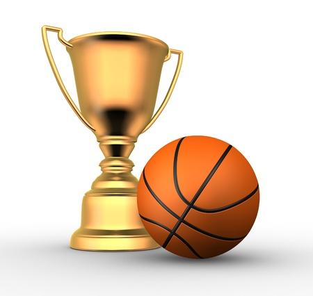 3d render illustration of a golden trophy with a basketball ball  illustration