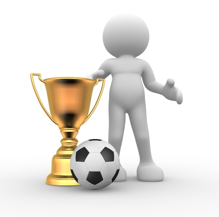 winners: 3d people - human character , person  with a golden trophy and a football ball. 3d render Stock Photo