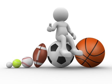 3d people - human character, person with different balls. The football, rugby, baseball, golf, tennis and basketball. 3d render photo