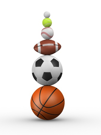 Different balls : baseball, basketball, football, rugby, tennis, golf. 3d render photo