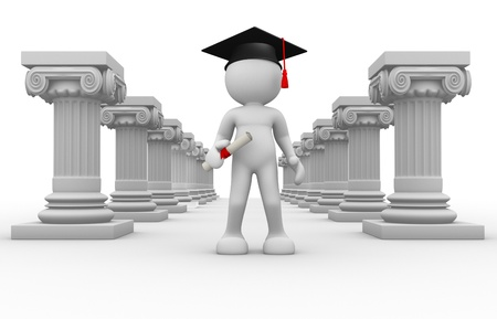 roman columns: 3d people - human character, person with graduation cap and roman columns  Graduate and a diploma  3d render