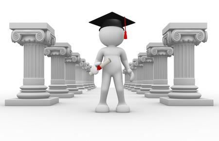 columnas romanas: Gente 3d - car�cter humano, persona con gorra de graduaci�n y posgrado columnas romanas y un diploma de render 3d Foto de archivo