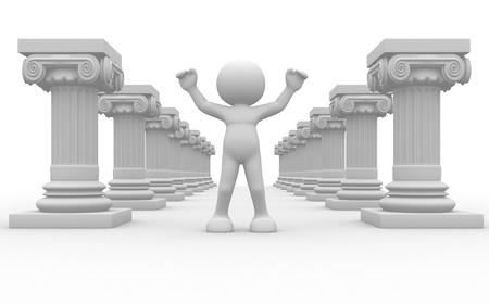 roman column: 3d people - human character, person and roman column  3d render illustration  Stock Photo
