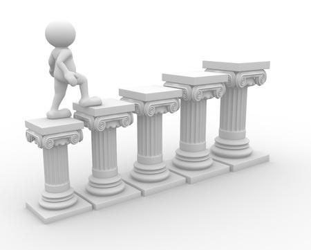 roman column: 3d people - human character , person  and roman column  3d render illustration  Stock Photo