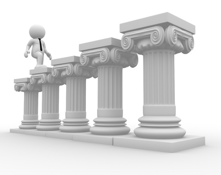 roman column: 3d people - human character, person and roman column  Businessman  3d render illustration