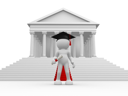 strong foundation: 3d people - human character, person with graduation cap and diploma  Roman columns and red carpet   3d render