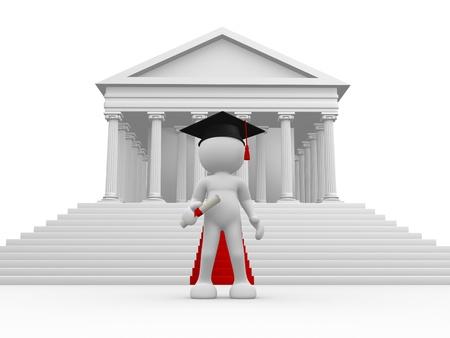 columnas romanas: Gente 3d - car�cter humano, persona con gorra de graduaci�n y diploma columnas romanas y alfombra roja 3d render