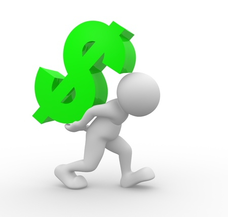 3d people - character - person carrying a dollar sign  3d render illustration