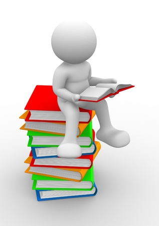 3d people - human character, person and books  3d render illustration Stock Illustration - 14801158