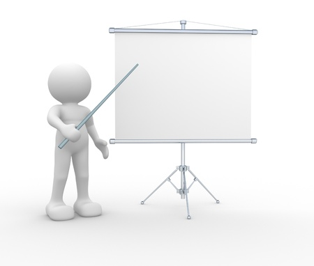 pointers: 3d people - human character - person  presenting at a flipchart  3d render illustration