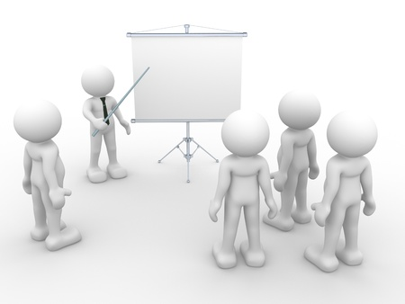 flipchart: 3d people - human character - person  presenting at a flipchart  Leadership and team  3d render illustration  Stock Photo