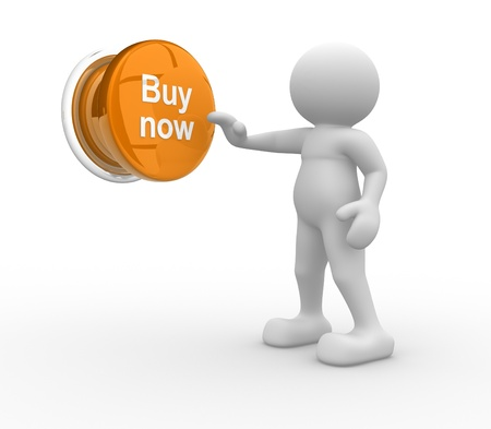 buy now: 3d people- human character , person pressing a button   Buy now    3d render illustration
