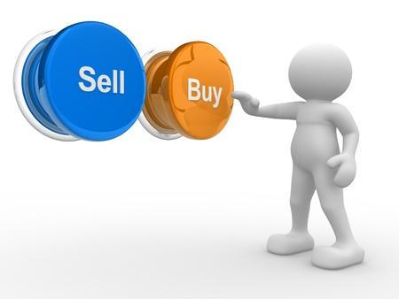 commerce: Personnes-humaine Personnage en 3D, personne appuyant sur un bouton Acheter ou vendre illustration 3d render Banque d'images