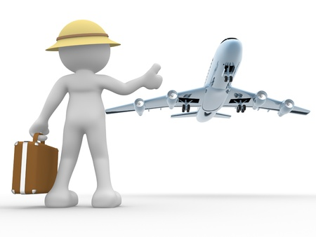 3d people - human character, person  with a suitcase and a airplane   Concept of travel  Hitchhiking  3d render photo