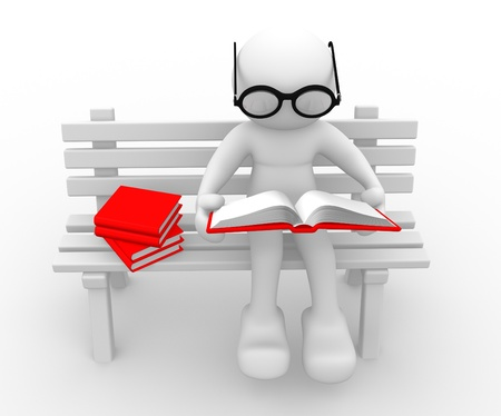3d people - human character - person sitting on the bench, and a read book  3d render photo