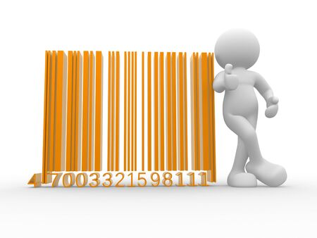 bar code: 3d people - human character , person with a bar code   barcode     3d render