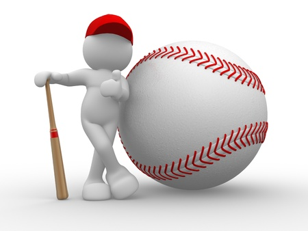 ballpark: 3d people - human character, person and baseball   3d redner