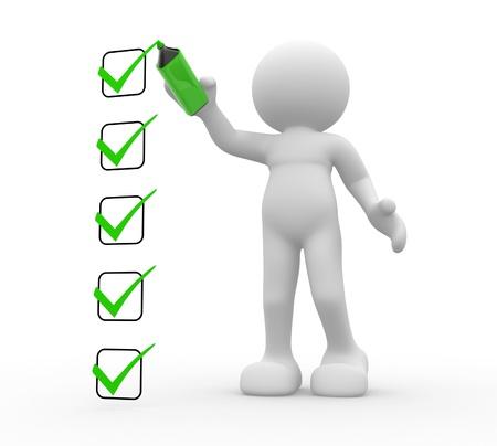 3d mensen - menselijk karakter, persoon en een checklist 3d render Stockfoto