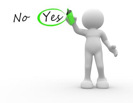 esitazione: Persone 3d - carattere umano, persona scelta tra s� e no un segno di spunta 3d rendere l'illustrazione matita