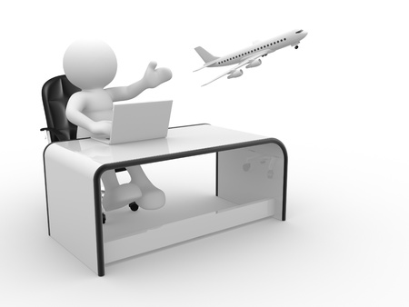 3d  people - human character , person sitting at a office, working on a laptop and a airplane flying  Travel agency   3d render photo
