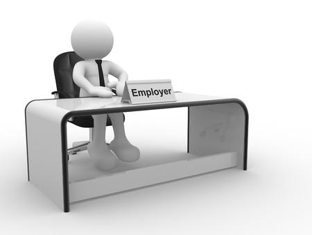 director de escuela: Gente 3d - carácter humano, persona sentada en una oficina del Empleador render 3d