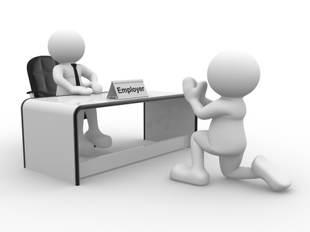 3d people - human character, person sitting at a office   Employer   3d render Stock Photo - 14802156