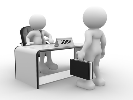applicant: 3d people - human character, person sitting at a office  Employer and applicant  3d render