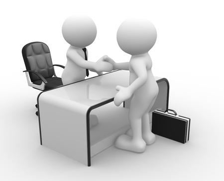 firme: Gente 3d - carácter humano, peson en una oficina Empresarios que sacuden las manos El concepto de asociación 3d