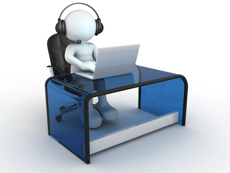 informatics: 3d people - human character , person with headphone sitting at the table and working on a laptop computer  3d render  Stock Photo