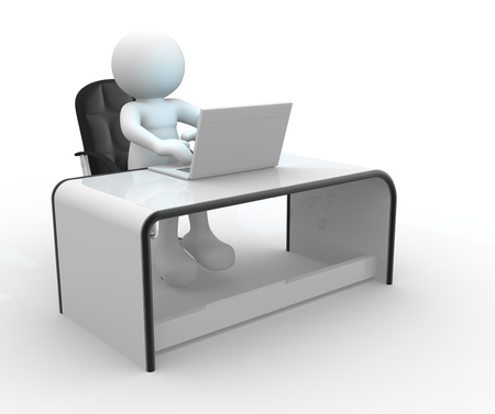 puppets: 3d people - human character, person sitting at a office and working a laptop computer   3d render