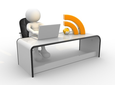 rss sign: 3d people - human character , person with laptop and RSS symbol at a office  3d render illustration