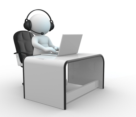 rende: 3d  people - human character , person with headphone sitting at the table and working on a laptop computer  3d rende Stock Photo