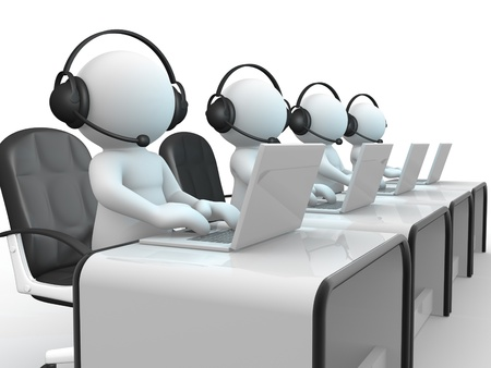 computer centre: 3d people - human character , person with headphone and a laptop  Call center   3d render illustration