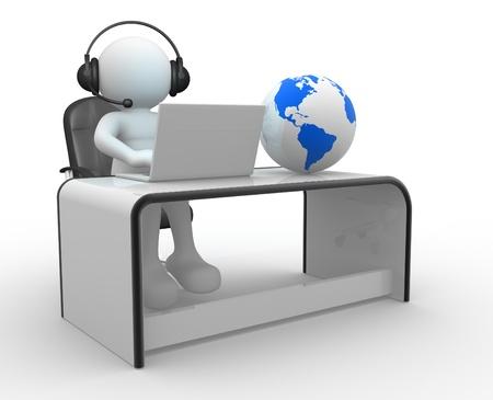 mobile headsets: La gente 3d - globo car�cter humano y la Tierra de una persona con auriculares y un ordenador port�til en una oficina de representaci�n en 3D Foto de archivo
