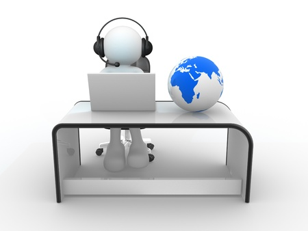 3d people - human character   Earth globe and person with headphones and  laptop at a office   3d render
