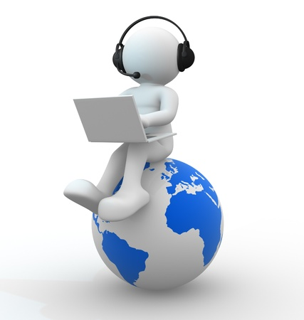 a communication: 3d people - human character   Earth globe and person with headphones and a laptop   3d render