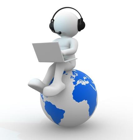 marionetta: Persone 3d - umana globo terrestre carattere e nome della persona con le cuffie e un computer portatile di rendering 3d Archivio Fotografico