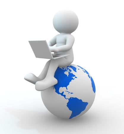 global work company: 3d people - human character  person with a laptop and a Earth globe  3d render