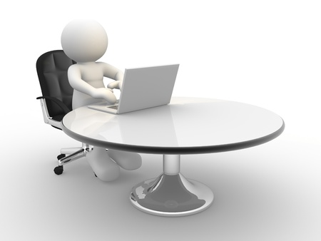 3d  people - human character , person sitting at the table and working on a laptop computer  3d render  photo