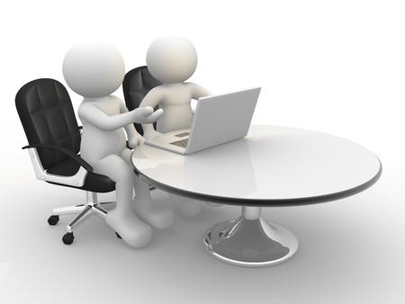 3d gente - carácter humano, persona y un ordenador portátil en una oficina de negocios asociados 3d Foto de archivo