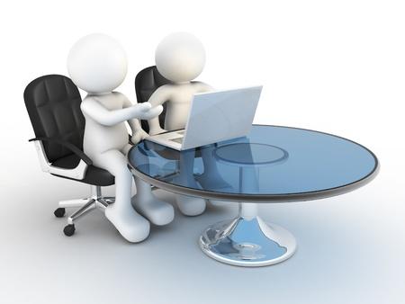 marioneta: La gente 3d - el car�cter humano, persona con un ordenador port�til a un compa�eros de oficina 3d