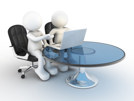 marionetta: Persone 3d - carattere umano, persona con un computer portatile a un colleghi di ufficio di rendering 3d