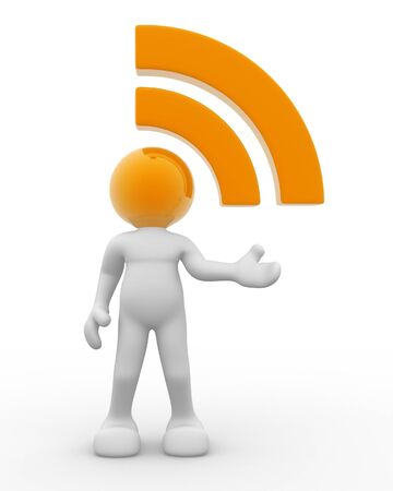 rss sign: 3d people - human character and  RSS  symbol   3d render illustration