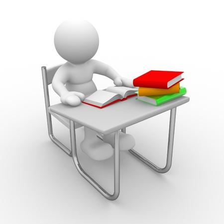 individui: Persone 3d - uomo, persona con i libri a studiare tavolo